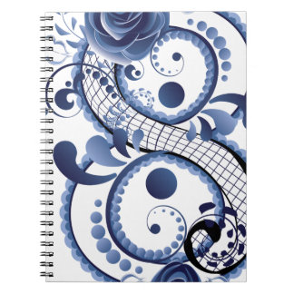 Blue Floral Eight Spiral Note Book