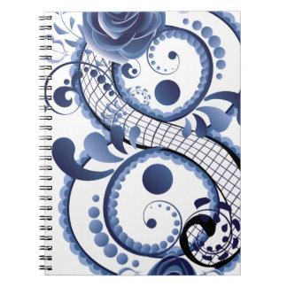 Blue Floral Eight Spiral Notebook