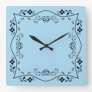 Blue Floral Flourish Scroll Square Wall Clock
