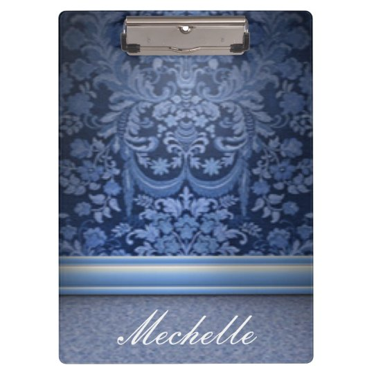 Blue Floral Flower Pattern Print Design Clipboard