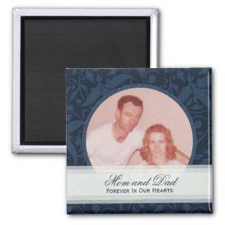 Blue Floral Framed: Memorial: Picture Magnet