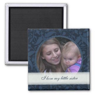 Blue Floral Framed: Sister: Picture Magnet