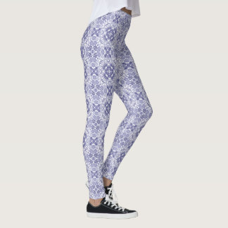 Blue Floral Geometric Leggings