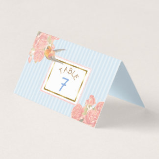 Blue Floral Gold Bird Wedding Table Number Place Card