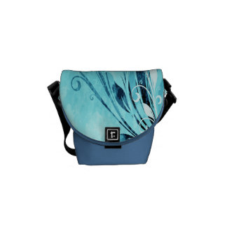 Blue Floral Grunge Commuter Bags