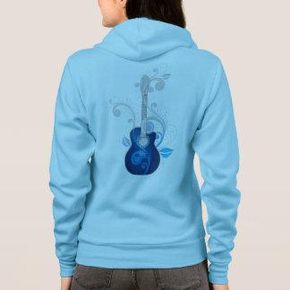 Blue Floral Guitar Zip Hoodie