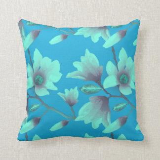 Blue Floral Happy Pillow
