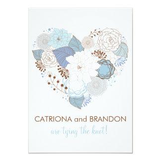Blue Floral Heart Winter Wedding Invitation