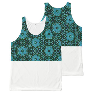 Blue-Floral-Jewel-Crop-It(c)-Tank-Top All-Over-Print Tank Top
