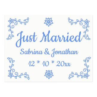 Blue Floral Just Married Wedding Announcement Postcard
