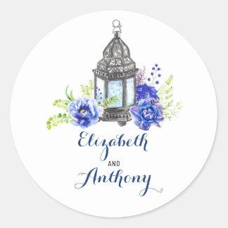 Blue Floral Lantern Wedding Classic Round Sticker