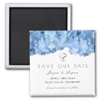 Blue Floral Little Save Our Date Square Magnet