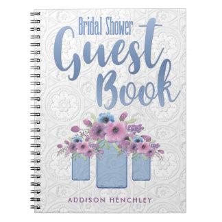 Blue Floral Mason Jar Bridal Shower Guest Book
