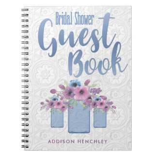 Blue Floral Mason Jar Bridal Shower Guest Book Spiral Notebook