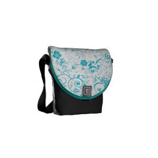 Blue Floral Messenger Bags