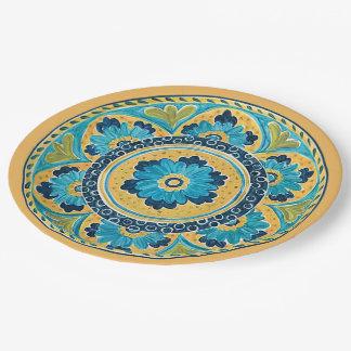 Blue Floral Mexican Tile Paper Plate