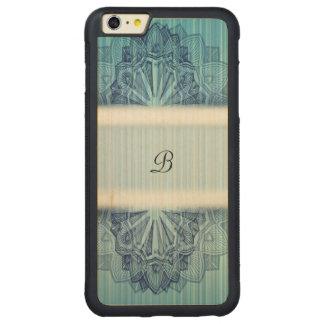 Blue Floral Monogram Carved Maple iPhone 6 Plus Bumper Case