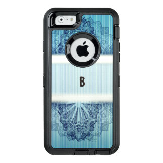 Blue Floral Monogram OtterBox Defender iPhone Case