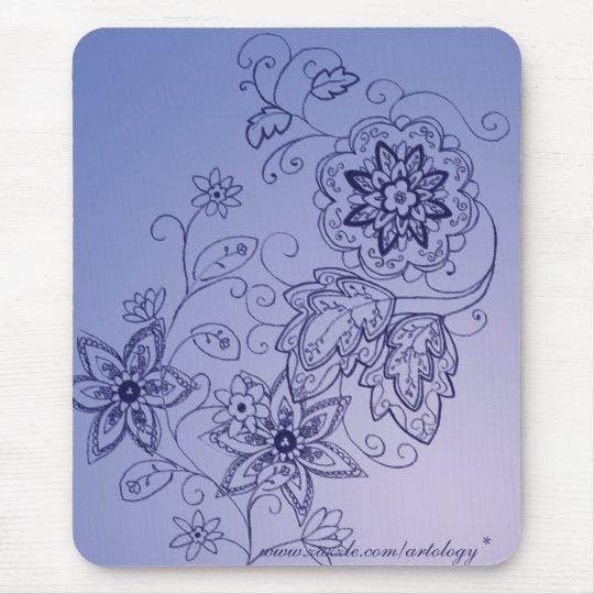 Blue Floral Mousepad