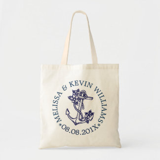Blue Floral Nautical Boat Anchor Wedding Gifts Tote Bag