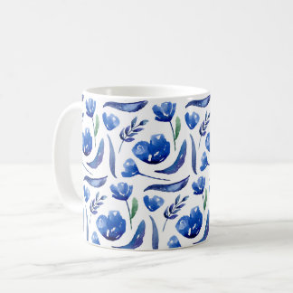 Blue floral. Navy flowers. Botanical. Feminine Coffee Mug