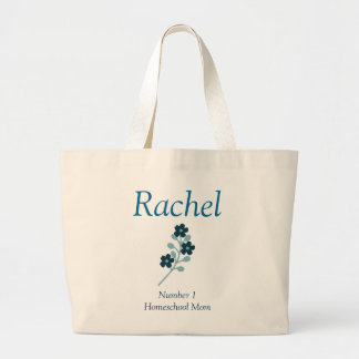 Blue Floral Number 1 Homeschool Mom Large Tote Bag