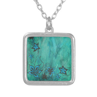 Blue floral on blue haze silver plated necklace