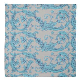 Blue Floral Ornamental Vintage Duvet Cover