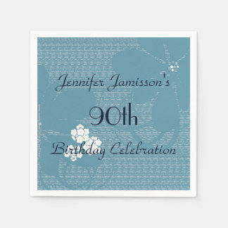 Blue Floral Paper Napkins, 90th Birthday Party Paper Napkin
