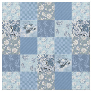 Blue Floral Patchwork Fabric