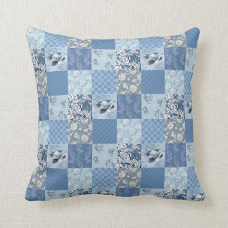 Blue Floral Patchwork Throw Pillow
