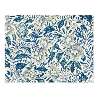 Blue floral Pattern Antique Vintage Postcard