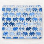Blue Floral Pattern Elephants