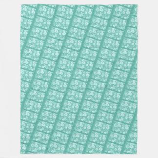 Blue Floral Pattern Fleece Blanket