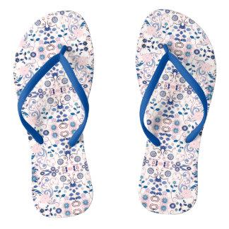 Blue Floral Pattern Flip Flops