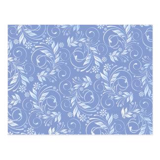 blue floral pattern postcard