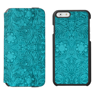 Blue Floral Pattern Suede Leather Look Incipio Watson™ iPhone 6 Wallet Case