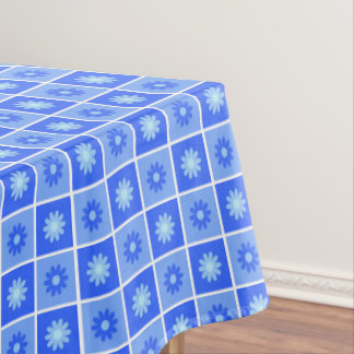 Blue Floral Pattern Tablecloth