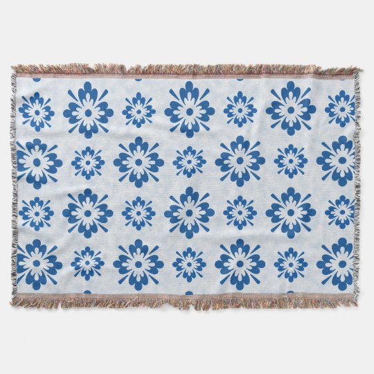 Blue floral pattern throw blanket