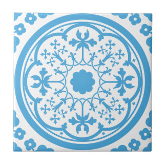 Blue Floral Pattern Tile