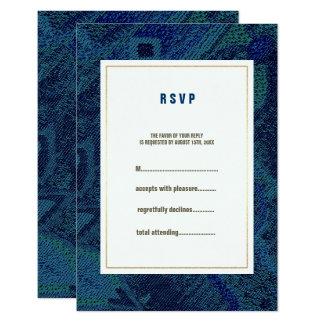 Blue Floral Pattern Wedding RSVP Cards