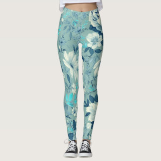 Blue Floral Pattern Yoga/Workout Leggings
