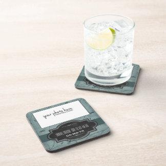 Blue Floral Personalized Photo Keepsake Drink Coasters