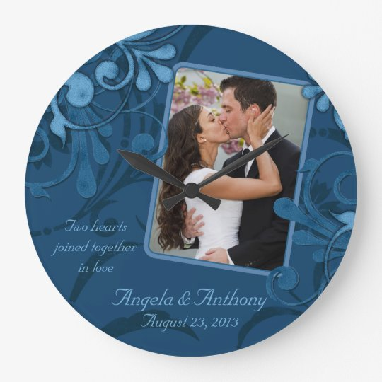 Blue Floral Personalized Photo Template Wallclock