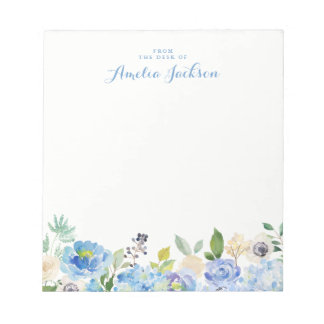 Blue Floral Personalized Social Stationery Notepad