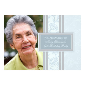 Blue Floral Photo 85th Birthday Party Invitations