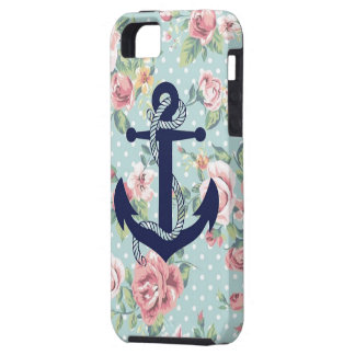 Blue Floral Polka Dot with Anchor iPhone 5 Case