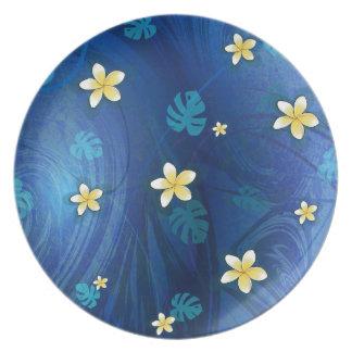 Blue Floral Polynesian plate