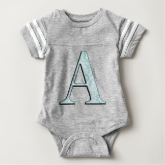 Blue Floral Print A monogram initials Gifts Baby Bodysuit