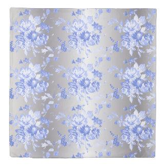 Blue Floral Print on Silver Duvet Cover